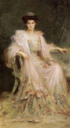 Crown Princess Cecilie of Prussia, née Duchess of Mecklenburg-Schwerin - 1908 - by Caspar Ritter (German, 1861-1923) - @~ Watsonette Love this picture.