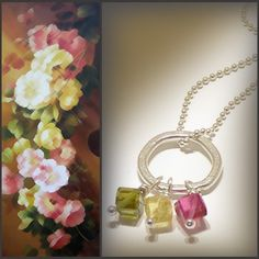 Tourmaline Cubes with Sterling Silver Ball Chain . . . Petite & Girly!