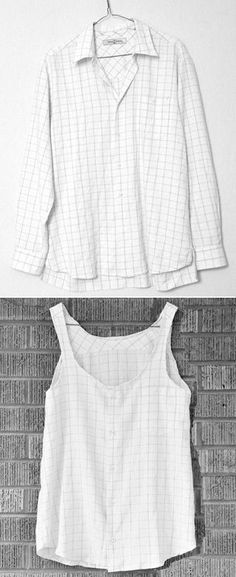 DIY- Men's button up to Summery flowy tank top - young mens clothing, mens fashion clothing online shop, big and tall mens clothing - DIY Fashion Pictures Cut Clothes, Sewing Clothes, Stylish Clothes, Reuse Clothes, Sewing Shirts, Clothing Hacks, Mens Clothing Styles, Men's Clothing, Diy Clothes Refashion