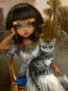 "Sanura - acrylic painting on panel - prints are up here - http://www.strangeling.com/shop/animal-art-prints/sanura/ ©Jasmine Becket-Griffith #jasminebecketgriffith #strangeling #art #eyptian #egypt #princess"" #cat #mau #egyptianmau #painting #cleopatra #cats #fantasyart #catart #bigeyes #bigeyeart #lowbrowart #pop #surrealism #surreal #popsurrealism #acrylic #girl #beauty #eyes"