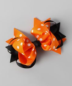 This Festive Fifi Orange Polka Dot Sweetie Pie Bow Clip by Festive Fifi is perfect! #zulilyfinds