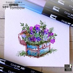Watercoloring technique on A. I. stamp with Tombow dual brush pens