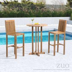 Trimaran Vive Natural Wood Round Bar Table