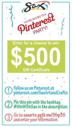 "Sax is saying ""Happy Back to School"" by throwing a Pinterest Party with your chance to win $500! To enter, follow us on Pinterest and pin this image with #WinWithSax in the description, then follow the link to enter your information. Sweepstakes ends 9/12/14."