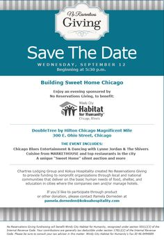 No Reservations Giving Event for Chicago's Habitat for Humanity