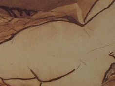 """Ce détail d'un dessin de Victor Hugo représente les fesses d' une jeune femme, couchée de dos, dont on aperçoit le buste nu - Lié au poème """"Jeune fille, l'amour..."""", du recueil """"Les Voix intérieures"""" de ce même Victor Hugo."""