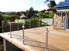 Our Elegance Glass Balustrades offer stylish glass frames with cylindrical posts in a satin or mirror finish. Ideal for balconies, gardens & patio decking! Balustrade Balcon, Balustrades, Glass Balustrade, Glass Railing, Balcony Railing, Deck Railings, Roof Deck, Budget Patio, Patio Garden Ideas On A Budget