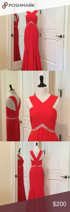Red Gown by Mignon Beautiful red gown with mesh insert. GREAT near perfect condition. Mignon Dresses