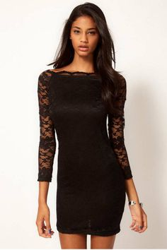 All lace sexy word cultivate one's morality dress(7colors)_daily dress_Dresses_CLOTHING_Voguec Shop