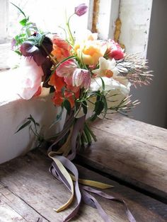 Pastel spring bouquet with tulips and snake's head fritillary by www.thebluecarrot.co.uk