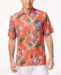 Tasso Elba Men's Wild Orchid Print Shirt, Only at Macy's - White XXL