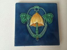 Stunning Original Art Nouveau Majolica Tile 4 in Antiques, Architectural, Garden | eBay