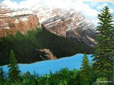 """This is a large Acrylic painting of the Peyto Lake in Alberta Canada 30""""x40"""" SOLD by Lynne Hollingsworth"""