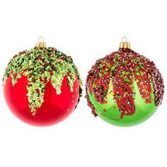 Red & Green Ball Ornaments with Glitter