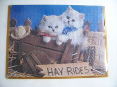 Vintage Puzzle Art HAY RIDES CATS   24.5 x 18 by LIZ404 on Etsy