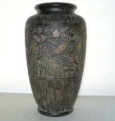 Incredible ART DECO 1930s VASE Looks Like Wood JAPANESE Art POTTERY Lots of Wear