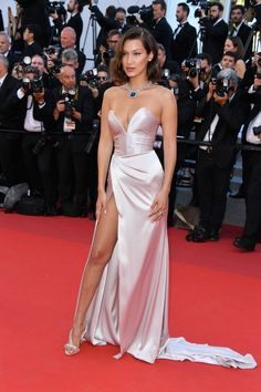 Bella Hadid in Alexandre Vauthier and Bulgari at the premiere of Ismael's Ghosts opening the Cannes Film Festival in Cannes, France, May 2017.