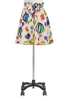 I <3 this Sash waist balloon print cotton skirt from eShakti
