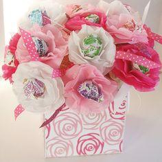 15 Tissue Paper Flowers sucker lollipop