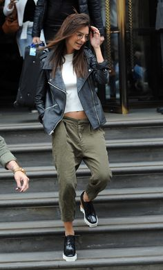 Green cargo pants with Stella McCartney platforms, white tee, leather moto.