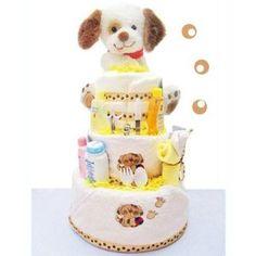 3 Tier Baby Shower Diaper Cake Centerpiece: Puppy Paws