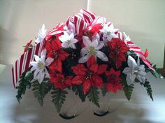 Christmas silk poinsettia flower headstone by GuardianFlowers, $45.00