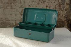 Vintage Tackle Box Turquoise Tools Art $20.00