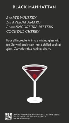 Black Manhattan recipes to make your Happy Hour complete. Drink Bar, Liquor Drinks, Alcoholic Drinks, Beverages, Cocktails To Try, Fancy Drinks, Craft Cocktails, Yummy Drinks, Bourbon Cocktails