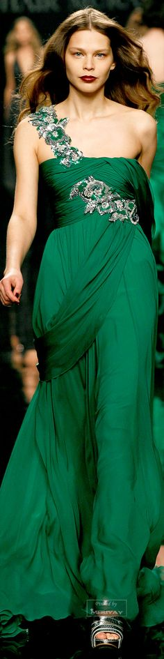 ♔Zuhair Murad♔ - - LOVE the color!  HATE the sash across the thigh.