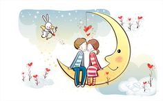 Young Love - Valentine Cute Couple illustrations - Sweet Couple on Moon - Valentine Couple, Valentine's Day illustrations 23 Valentines Day Couple, Happy Valentines Day, Moon Hd, Valentine Cartoon, Love Card, Love Astrology, Cartoon Background, Couple Illustration, Couple Wallpaper