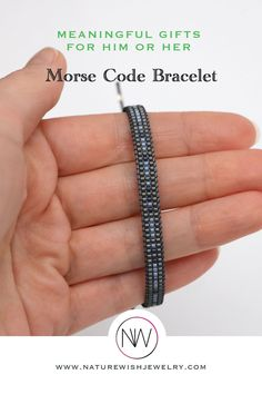 Handmade, grey seed bead adjustable Morse code bracelet for men and women. Minimal, adjustable hidden message bracelet is a perfect opportunity to surprise your best friend, boyfriend, husband, son, dad, brother or any significant person in your life. Or finally yourself! #meaningfulgift #morsecodebracelet #beadedjewelry Bracelets For Men, Handmade Bracelets, Morse Code Bracelet, Beading Ideas, Meaningful Gifts, Bracelet Making, Seed Beads, Natural Gemstones, Opportunity