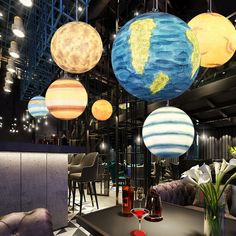 This pendant lamp has a unique design of the universe planet, you can purchase it from Homelava.com to decorate your kids room or restaurant. Dining Light Fixtures, Dining Lighting, Pendant Light Fixtures, Home Lighting, Pendant Lamp, Pendant Lighting, Art Deco Kitchen, Solar, Planet Design