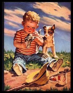 Raymond james stuart konstnärer - raymond james stuart art, raymond james o Vintage Posters, Vintage Art, James Stuart, Raymond James, Applis Photo, Arte Country, Dogs And Kids, Norman Rockwell, Beautiful Paintings