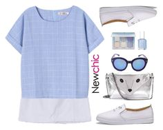 """Newchic~blue and white~"" by gabygirafe ❤ liked on Polyvore featuring Anastasia Beverly Hills, Essie, loafers, sunglasses, whiteskirt, whiteshoes and newchic"