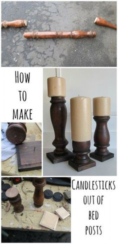 My Repurposed Life will show you how to use old bed part scraps to make candlesticks