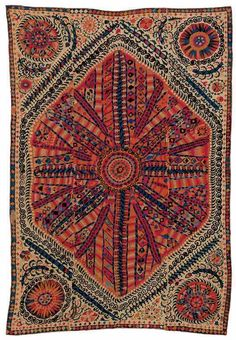 Large Medallion Embroidery Bokhara, c.1800