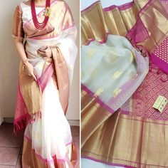 Simple Saree Designs, Kids Blouse Designs, Half Saree Designs, Simple Sarees, Cotton Saree Designs, Saree Blouse Neck Designs, Saree Blouse Patterns, South Silk Sarees, Saree Trends