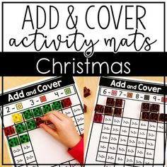Christmas Add and Cover Mats for Kindergarten - Work on addition with numbers 1-10 with this great download. Use small plastic counting cubes to complete the activity. Great for December math centers, games, review, a family night, and more. Grab yours today! #KindergartenMath #Kindergarten #KindergartenChristmas #ChristmasMath #ChristmasActivity #AddAndCover