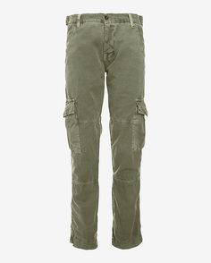 NSF Cargo Pants: Delivering on fashion and function comes to us cargo pants. Multiple pockets. Button fly closure with belt loop waist. In olive. Fabric: 100% cotton Model Measurements: Height 5'10; Waist 25 ; Bust 34      Rise: 9   Inseam: 27   6 wide at hem   Made in ...