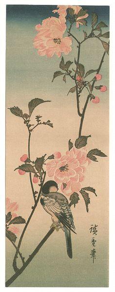 Small Bird on a Branch of Kaidozakura Artist: Hiroshige Start Date: 1833 Completion Style: Ukiyo-e Genre: bird-and-flower painting Technique: woodcut Painting Prints, Fine Art Prints, Art Paintings, Japanese Bird, Vintage Japanese, Japanese Prints, Oriental, Japanese Painting, Japan Art