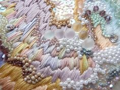 Embroidery Sample by Anna Jane Searle. Pearls, clusters, crewel, freeform