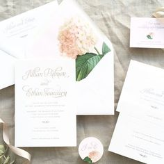 Spring Floral Wedding Invitation Suite with Hydrangea Custom Envelope Liner honey-paper.com #itsallinthedetails #santaynezwedding #santabarbarawedding #californiawedding