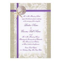 purple and burlap wedding  | Purple Beach Burlap and Vintage Lace Wedding Custom Announcements