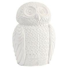 Ceramic owl sculpture.  Product: Owl sculptureConstruction Material: CeramicColor: WhiteDimensions: 11.75 H x 4.5 W x 8.25 D