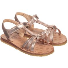 Easy Peasy Girls Metallic Pink Leather 'Lulu' Sandals at Childrensalon.com