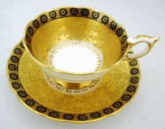 SALE - Royal Stafford Gold etch daisy gilt black border tea cup and saucer Teapots And Cups, Teacups, Royal Stafford, Cup And Saucer Set, Tea Sets, High Tea, Bone China, Tea Time, Coffee Cups