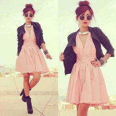 pink dress leather jacket