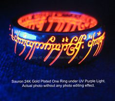 The Lord of the Rings Tungsten Carbide Engraved Yellow Gold Ring