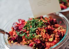 """Gorgeous Beet Quinoa Salad with Pistachios. More entertaining ideas with Arielle Haspel of bewellwitharielle.com and Host of Glamour.com's cooking series """"Treat Yourself"""" @glamourmag"""