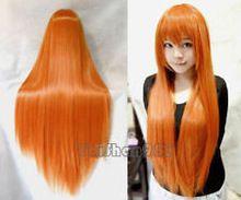 Fashion long Orange straight made hair wig 100% Kanekalon fibre no Lace Front Wigs Free deliver(China (Mainland))